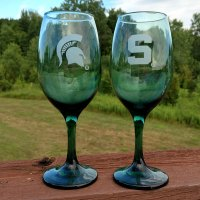 MSU Spartan Wine Glass Green