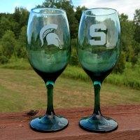 MSU Spartan Wine Glass Green