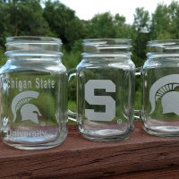 Engraved Sparty Mason Mug