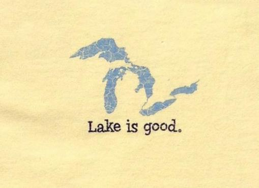 Lake Is Good T-Shirt Lemon with Great Lakes