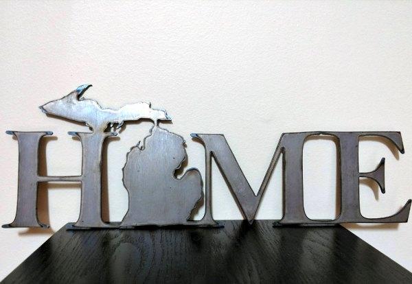 Michigan HOME Metal Sign Brown