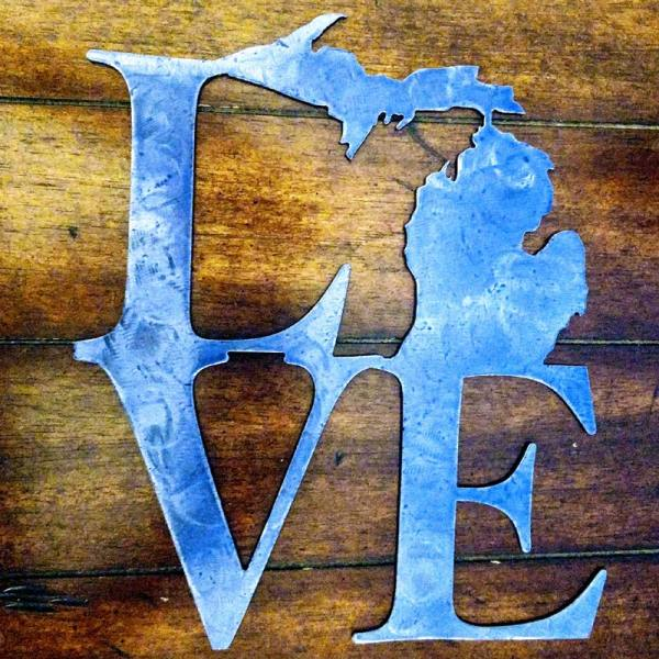 Michigan LOVE Metal Sign