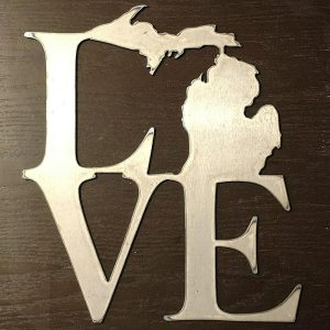 Michigan LOVE Metal Sign