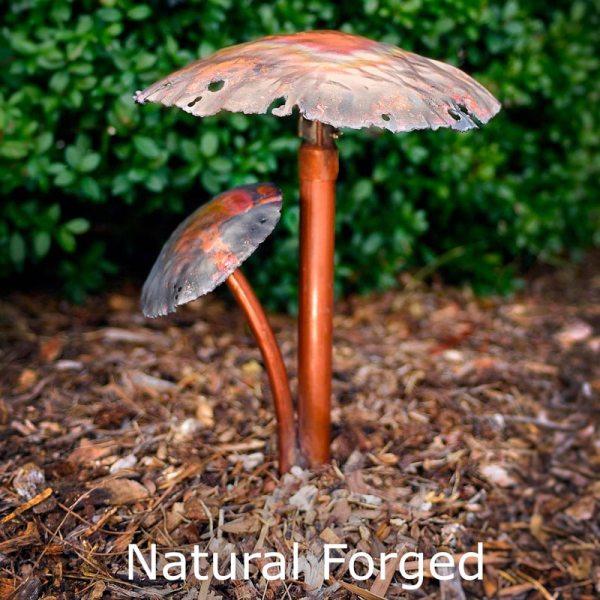 Two Mushroom Caps Copper LED Landscape Light Natural Forged