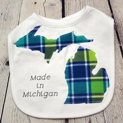 Baby Made In Michigan Bib