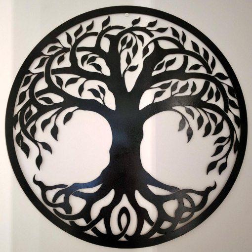 Tree of Life Metal Sign Black