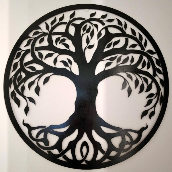 Tree of Life Metal Sign Black