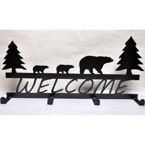 Decorative Wall Mounted Welcome Bear Metal Rack