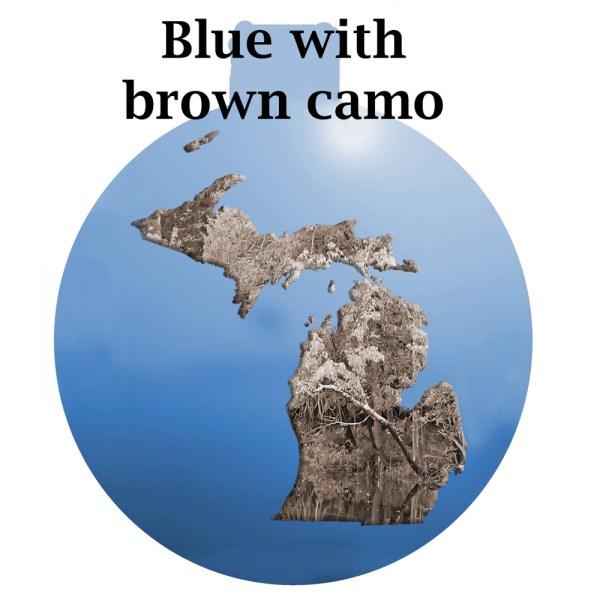 Metal Michigan Ornament - Blue sky with Brown Camo Michigan