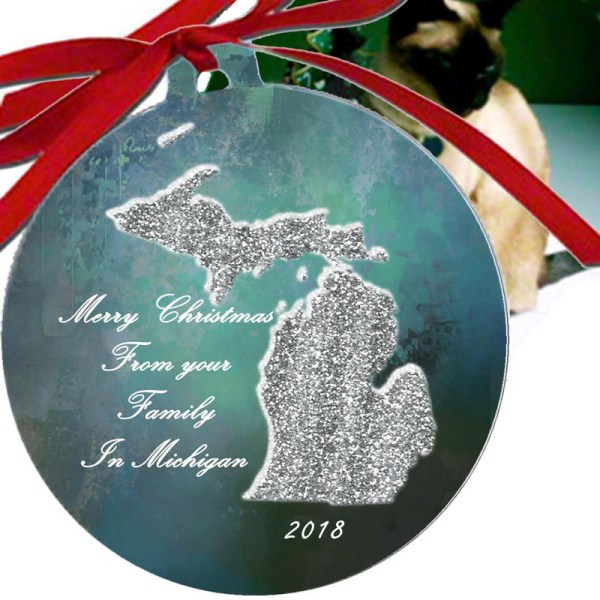 Metal Michigan Ornament
