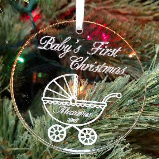 Personalized Baby Buggy Ornament Baby's First Christmas