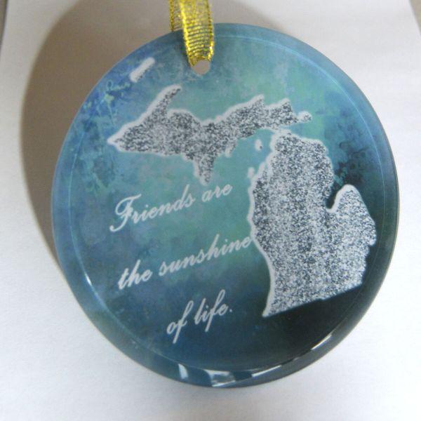 Beveled Glass Suncatcher Ornament with Michigan Map