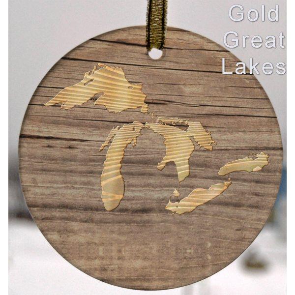 Glass Michigan Suncatcher Ornament Gold Great Lakes