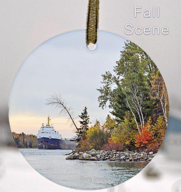 Glass Photo Suncatcher Ornament Fall Scene