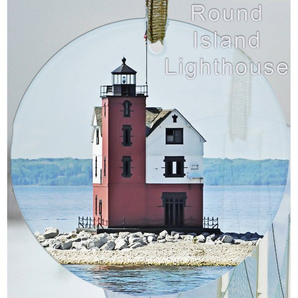 Glass Photo Suncatcher Ornament Round Island Lighthouse