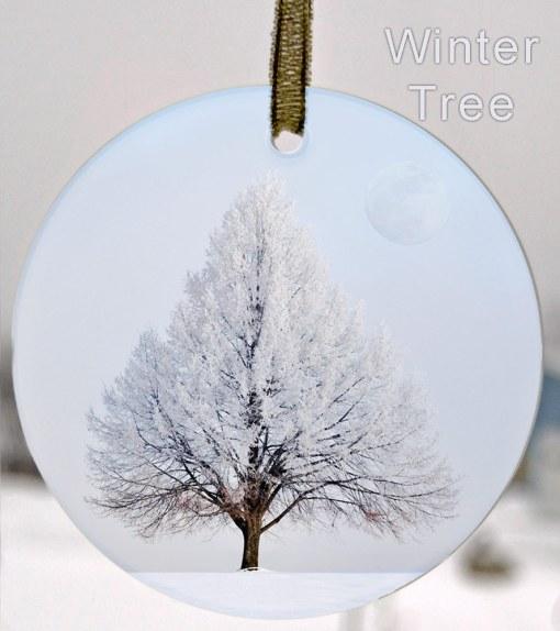Glass Photo Suncatcher Ornament Winter Tree