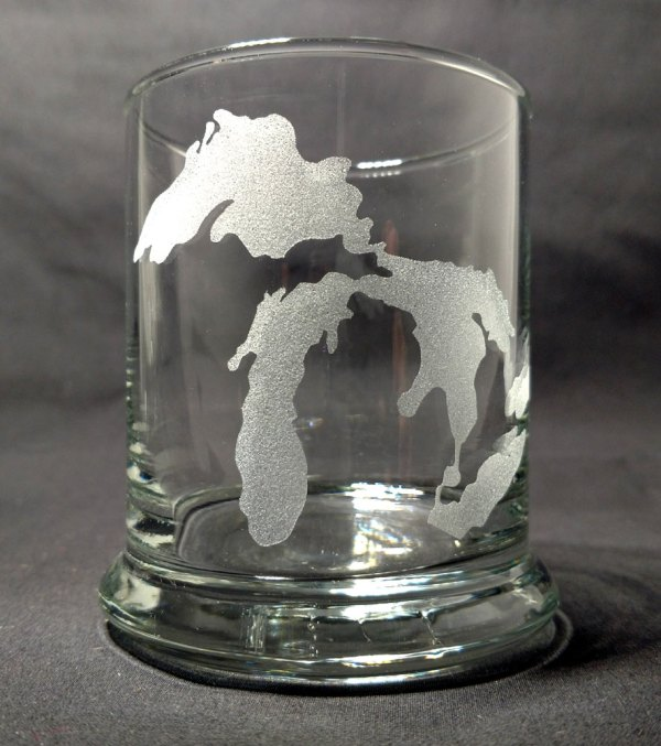 Engraved Great Lakes Michigan Rocks Glass Personalize