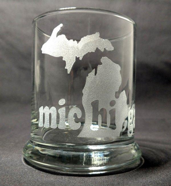 Engraved Michigan Hi Rocks Glass Personalize