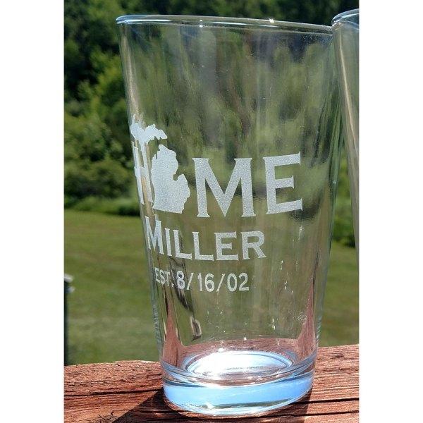 Personalized Michigan HOME Pint Glass