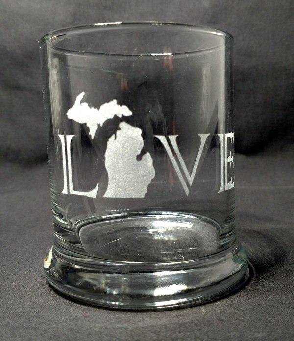 Engraved Michigan LOVE Rocks Glass Personalize