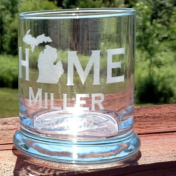 Personalized Michigan HOME Rocks Glass