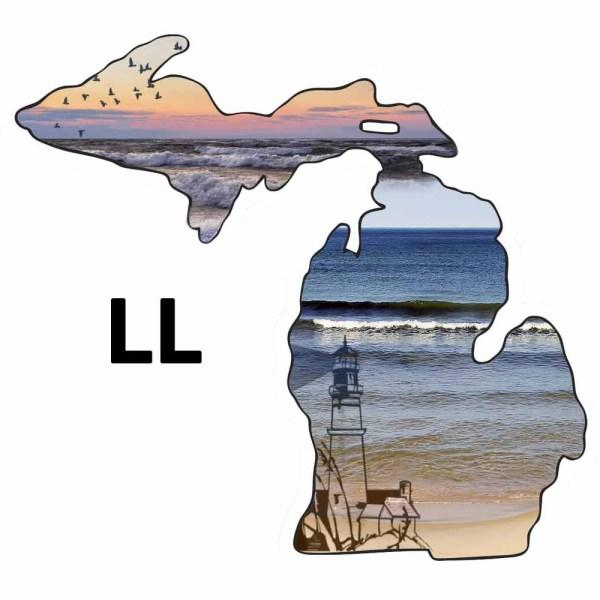 Metal Michigan Shape Ornament Lake Lighthouse Design