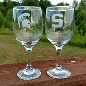 MSU Spartan Wine Glass Clear