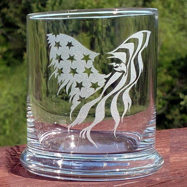 Engraved Patriotic Rocks Glass