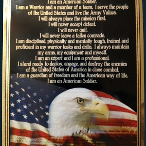 Soldier's Creed Plaque Army Soldier American Flag
