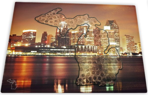 Michigan Glass Cutting Board Detroit Skyline