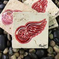 Detroit Red Wings Coasters Hand Painted Travertine Stone