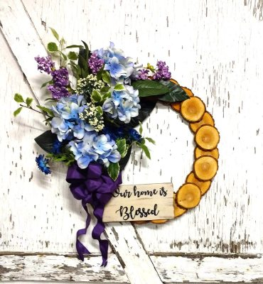 """Our home is Blessed Blue Hydrangea Wreath 19"""" Willow"""