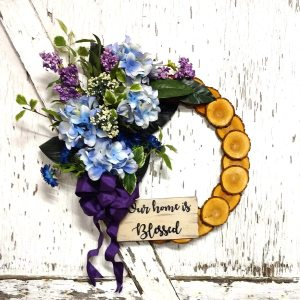 "Our home is Blessed Blue Hydrangea Wreath 19"" Willow"