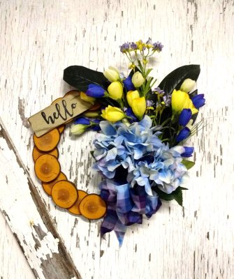 Hello Blue Hydrangea Wreath 13 inch Maple