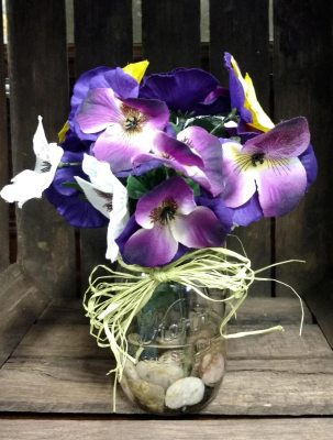 Country Pansies Silk Floral Arrangement