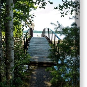 Rock River Foot Bridge Canvas Print