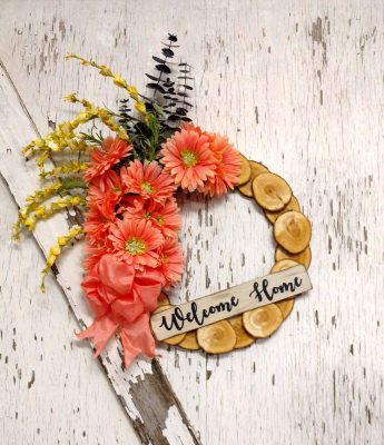 Welcome Home Melon Daisies Wreath 15 inch Willow