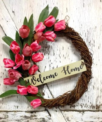 Welcome Home Pink Tulips Wreath 23 inch Grapevine
