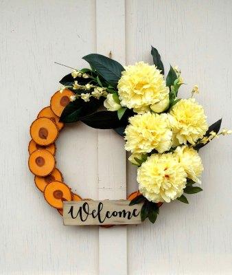 Welcome Yellow Peonies Wreath 19 inch Oak Slice