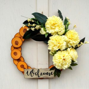 Welcome Yellow Peonies Wreath 19 inch Oak Slice