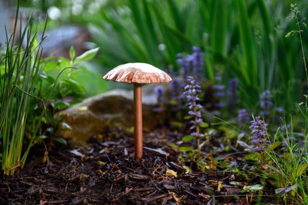 Garden Mushroom Sculpture Solid Copper