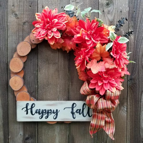 Happy Fall Wreath 19 inch Maple Slice Orange Dahlias