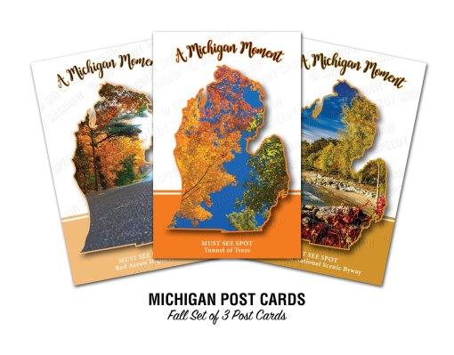 Michigan Must See Spots Fall Set Postcards