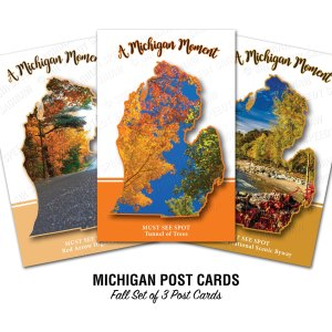 Michigan Must See Spots Fall Set Postcards