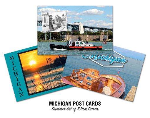Michigan Boating and Lakes Postcards Summer Set
