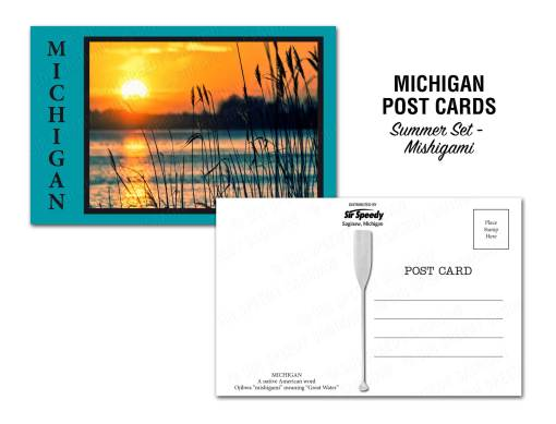Mishigami Postcard Ojibwa word meaning Great Water