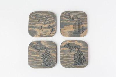 Engraved Wood Michigan Coasters Gray