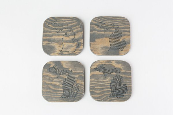 Engraved Wood Michigan Coasters Gray