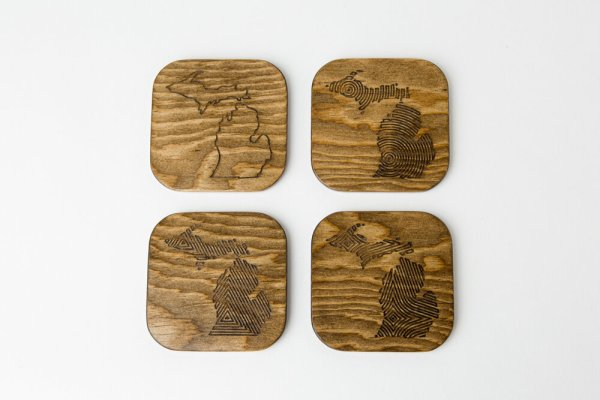 Engraved Wood Michigan Coasters Walnut