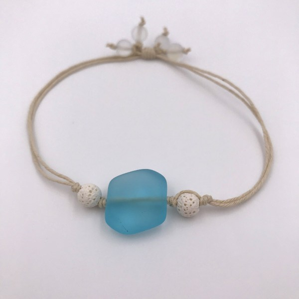Sea Glass Aromatherapy Bracelet Blue